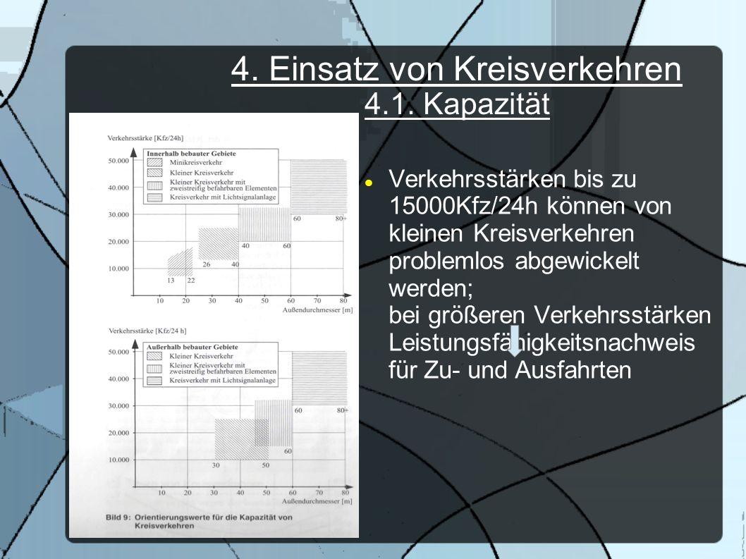 4. Einsatz von Kreisverkehren 4.1. Kapazität Verkehrsstärken bis zu 15000Kfz/24h können von kleinen Kreisverkehren problemlos abgewickelt werden; bei