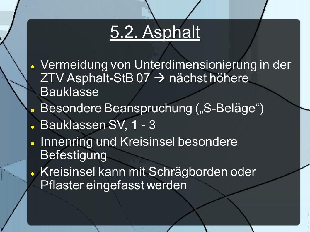 5.2. Asphalt Vermeidung von Unterdimensionierung in der ZTV Asphalt-StB 07 nächst höhere Bauklasse Besondere Beanspruchung (S-Beläge) Bauklassen SV, 1