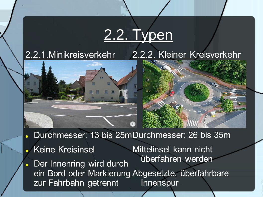 2.2. Typen 2.2.1.Minikreisverkehr Durchmesser: 13 bis 25m Keine Kreisinsel Der Innenring wird durch ein Bord oder Markierung zur Fahrbahn getrennt 2.2