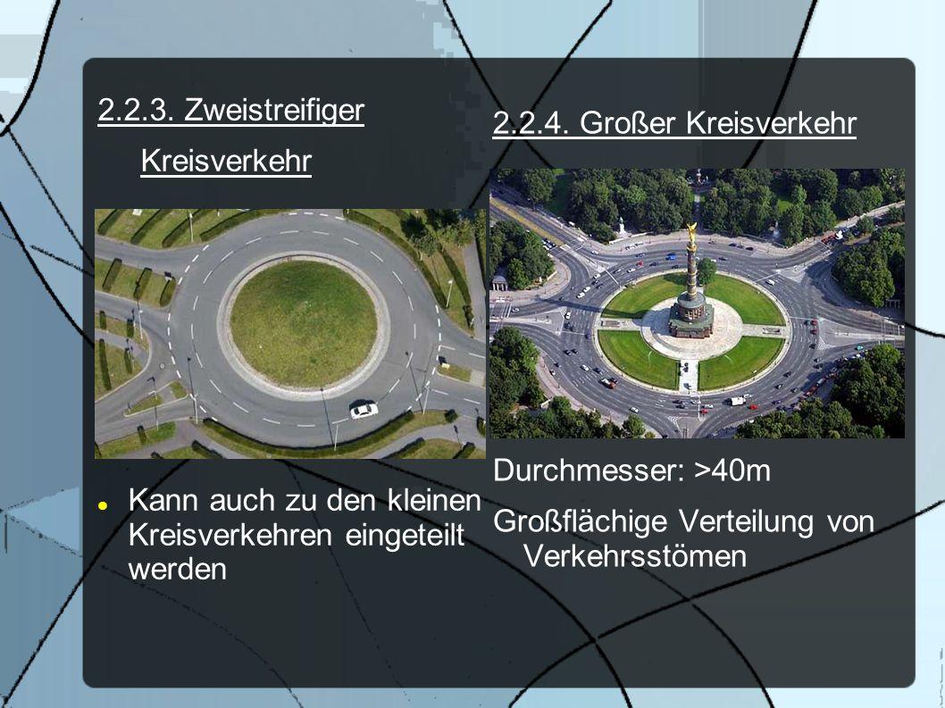 2.2.3. Zweistreifiger Kreisverkehr Kann auch zu den kleinen Kreisverkehren eingeteilt werden 2.2.4. Großer Kreisverkehr Durchmesser: >40m Großflächige