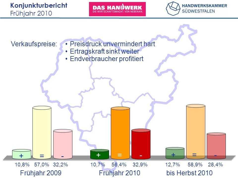 Konjunkturbericht Frühjahr 2010 Verkaufspreise: 10,8%57,0%32,2%12,7%58,9%28,4% +=- +=- 10,7%56,4%32,9% +=- Preisdruck unvermindert hart Ertragskraft sinkt weiter Endverbraucher profitiert Frühjahr 2009 bis Herbst 2010 Frühjahr 2010