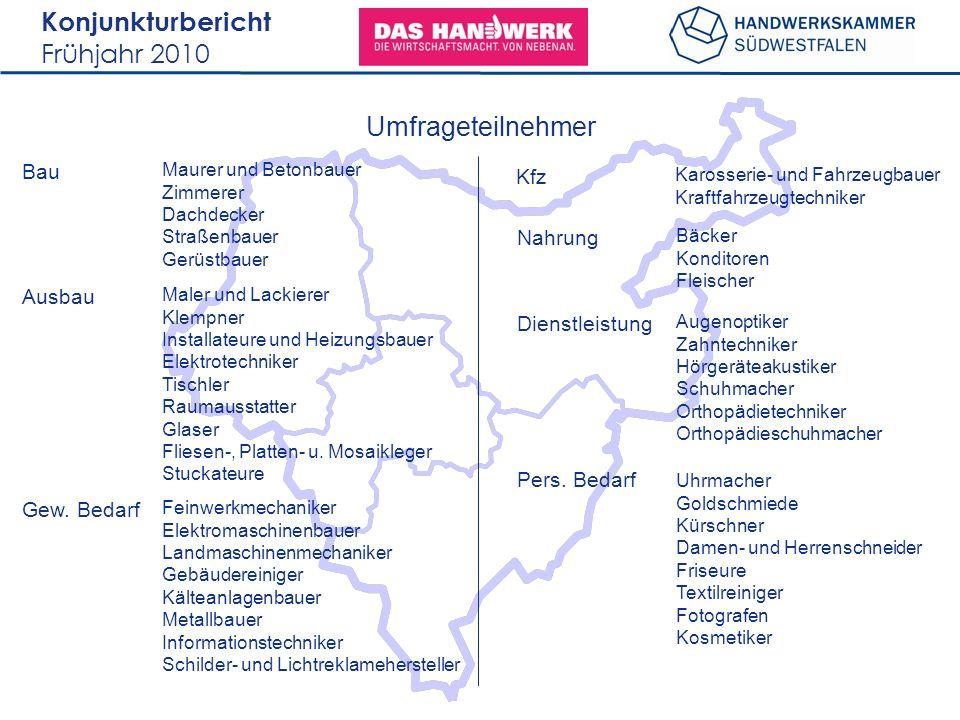 Konjunkturbericht Frühjahr 2010 Umfrageteilnehmer Maurer und Betonbauer Zimmerer Dachdecker Straßenbauer Gerüstbauer Bau Maler und Lackierer Klempner