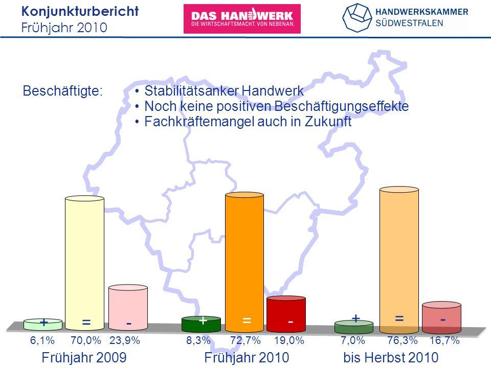Konjunkturbericht Frühjahr 2010 Beschäftigte: 6,1%70,0%23,9%7,0%76,3%16,7% +=- 8,3%72,7%19,0% +=- Stabilitätsanker Handwerk Noch keine positiven Beschäftigungseffekte Fachkräftemangel auch in Zukunft Frühjahr 2009 bis Herbst 2010 Frühjahr 2010 +=-