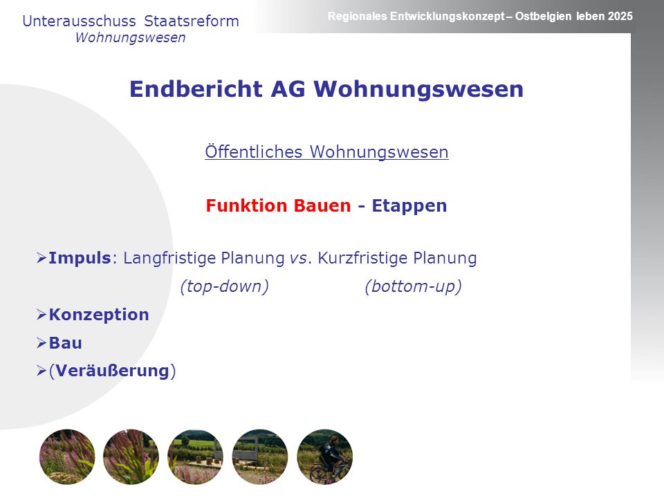Regionales Entwicklungskonzept – Ostbelgien leben 2025 Endbericht AG Wohnungswesen Öffentliches Wohnungswesen Funktion Bauen - Etappen Impuls: Langfristige Planung vs.