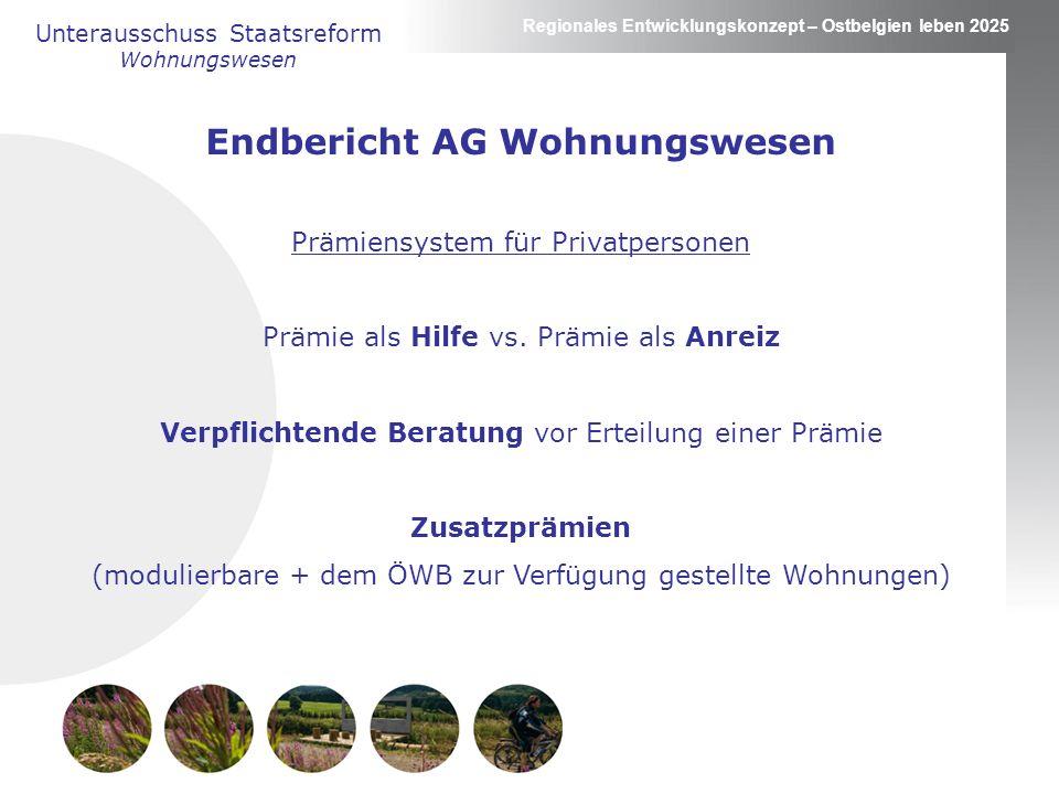 Regionales Entwicklungskonzept – Ostbelgien leben 2025 Endbericht AG Wohnungswesen Prämiensystem für Privatpersonen Prämie als Hilfe vs.