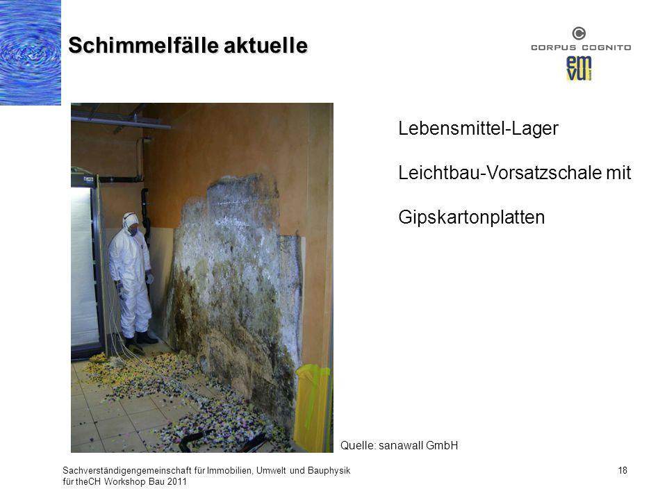 Sachverständigengemeinschaft für Immobilien, Umwelt und Bauphysik für theCH Workshop Bau 2011 18 Schimmelfälle aktuelle Lebensmittel-Lager Leichtbau-V