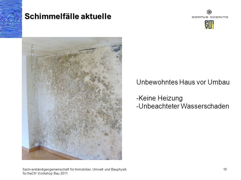 Sachverständigengemeinschaft für Immobilien, Umwelt und Bauphysik für theCH Workshop Bau 2011 19 Schimmelfälle aktuelle Unbewohntes Haus vor Umbau -Ke