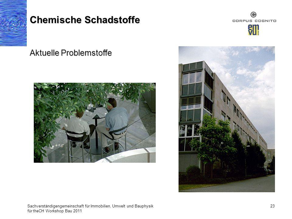 Sachverständigengemeinschaft für Immobilien, Umwelt und Bauphysik für theCH Workshop Bau 2011 23 Chemische Schadstoffe Aktuelle Problemstoffe