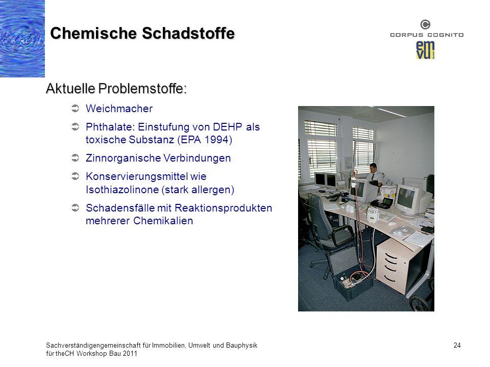 Sachverständigengemeinschaft für Immobilien, Umwelt und Bauphysik für theCH Workshop Bau 2011 24 Chemische Schadstoffe Aktuelle Problemstoffe: Weichma