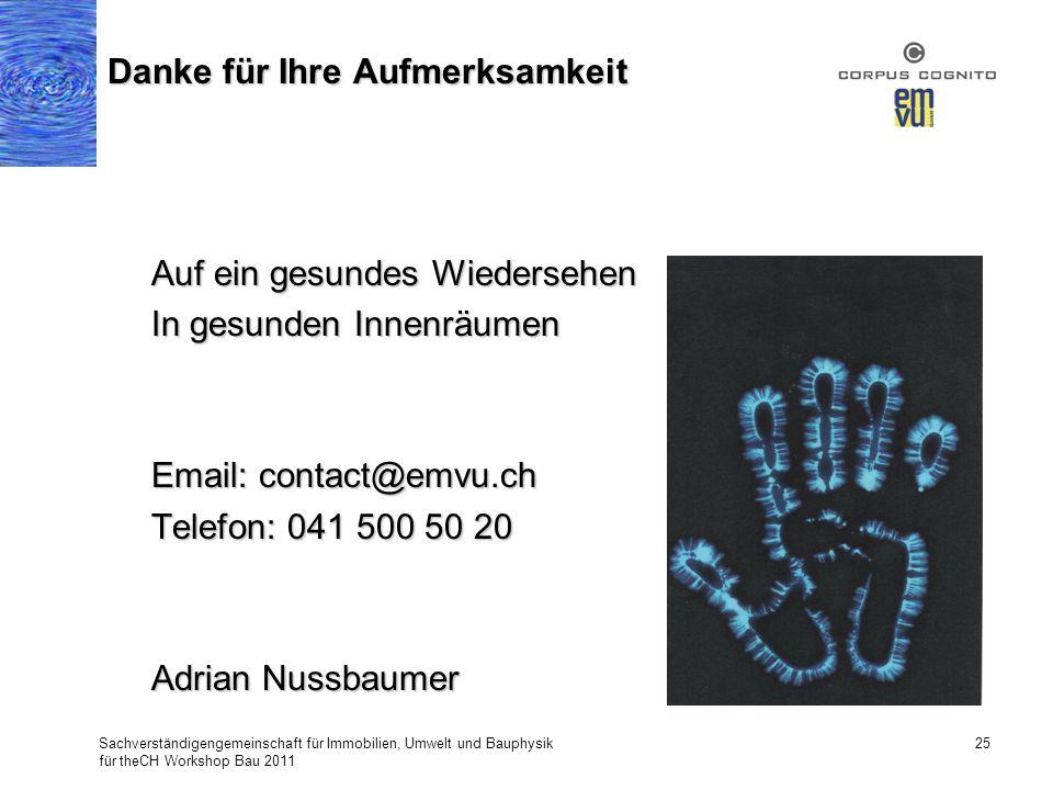 Sachverständigengemeinschaft für Immobilien, Umwelt und Bauphysik für theCH Workshop Bau 2011 25 Danke für Ihre Aufmerksamkeit Auf ein gesundes Wieder
