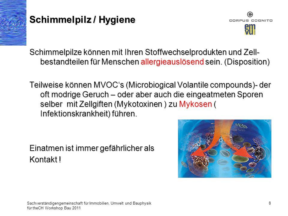 Schimmelpilze können mit Ihren Stoffwechselprodukten und Zell- bestandteilen für Menschen allergieauslösend sein. (Disposition) Teilweise können MVOCs