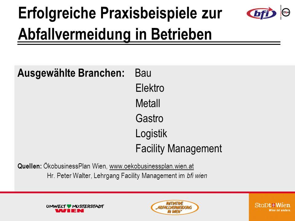 Venz GmbH Betriebliche Maßnahmen Abfallvermeidende Auswirkungen: Güterbeförderungsgewerbe www.venz.at Einsatz von Fehlkopien für interne Zwecke bzw.