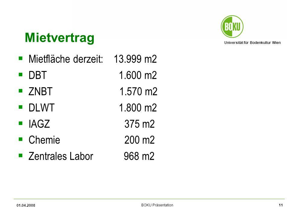 Universität für Bodenkultur Wien BOKU Präsentation 01.04.2008 11 Mietvertrag Mietfläche derzeit: 13.999 m2 DBT 1.600 m2 ZNBT 1.570 m2 DLWT 1.800 m2 IAGZ 375 m2 Chemie 200 m2 Zentrales Labor 968 m2