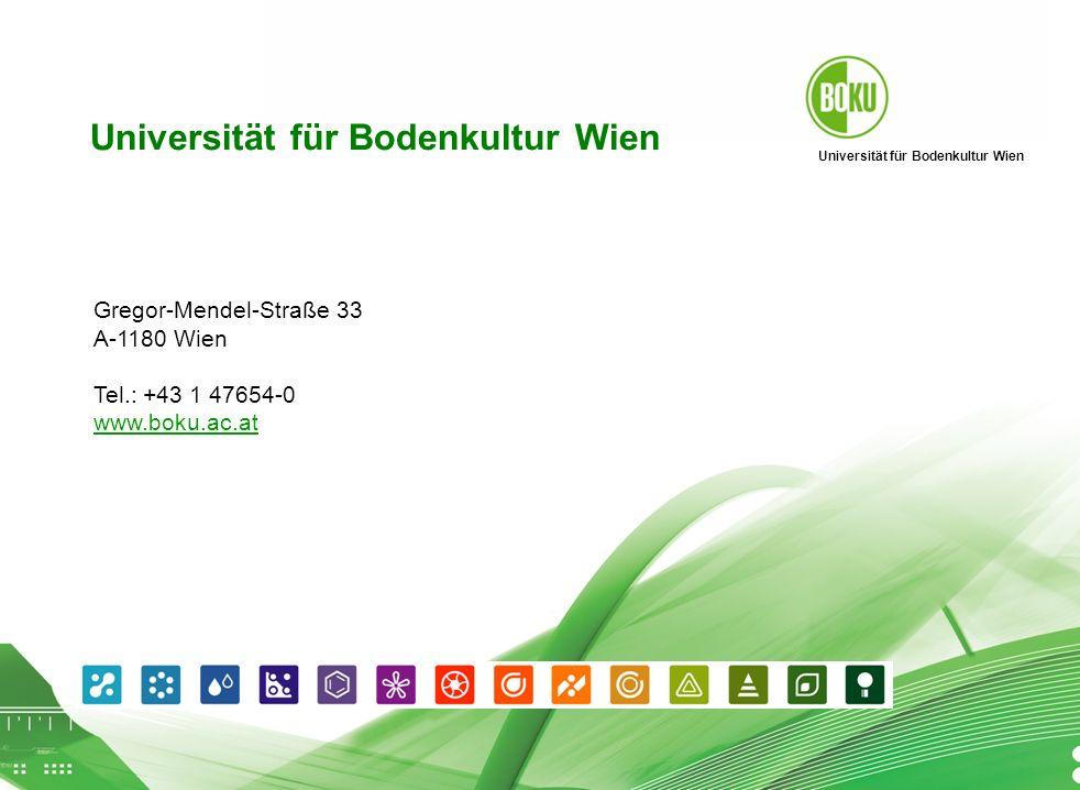 Universität für Bodenkultur Wien BOKU Präsentation 01.04.2008 15 Universität für Bodenkultur Wien Gregor-Mendel-Straße 33 A-1180 Wien Tel.: +43 1 47654-0 www.boku.ac.at