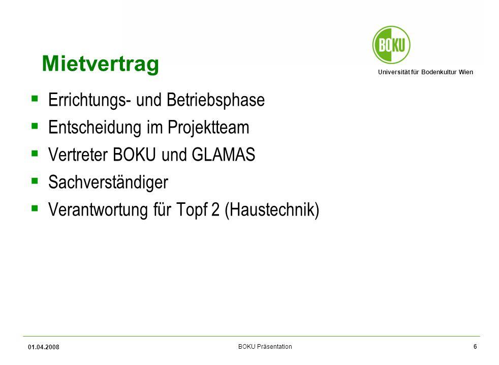 Universität für Bodenkultur Wien BOKU Präsentation 01.04.2008 7 Mietvertrag Topf 1 (Edelrohbau): GLAMAS Topf 2 (Haustechnik): Projektteam Topf 3 (Einrichtung); BOKU