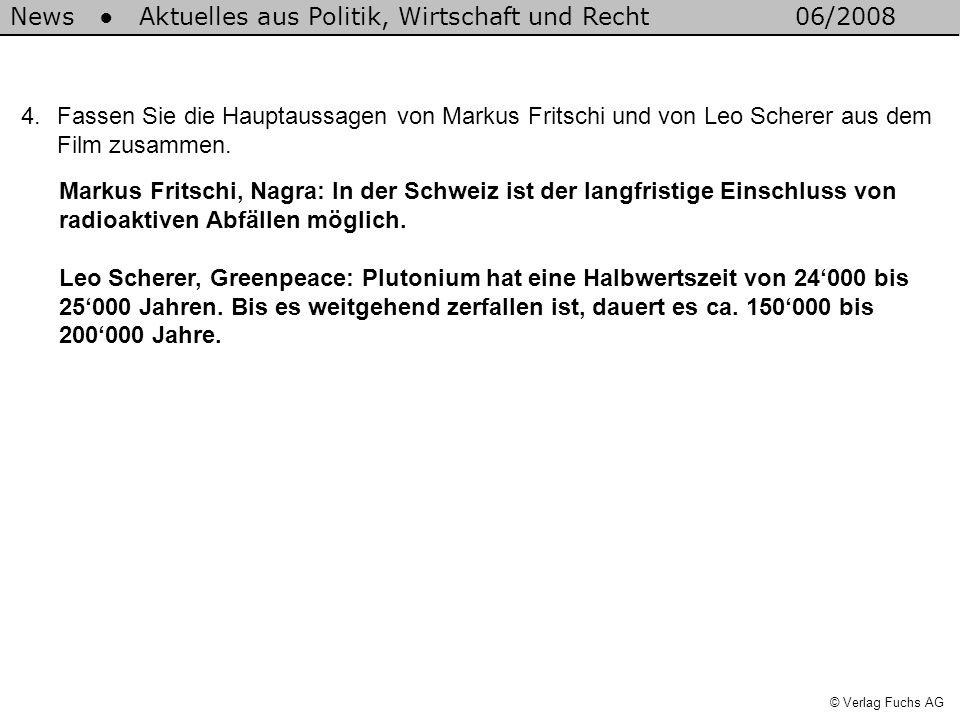 News Aktuelles aus Politik, Wirtschaft und Recht06/2008 © Verlag Fuchs AG 4.Fassen Sie die Hauptaussagen von Markus Fritschi und von Leo Scherer aus d
