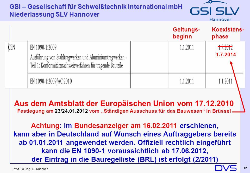 Prof. Dr.-Ing. G. Kuscher GSI – Gesellschaft für Schweißtechnik International mbH Niederlassung SLV Hannover 12 Koexistens- phase Geltungs- beginn Aus