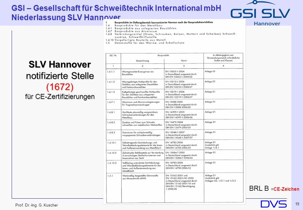 Prof. Dr.-Ing. G. Kuscher GSI – Gesellschaft für Schweißtechnik International mbH Niederlassung SLV Hannover 19 SLV Hannover notifizierte Stelle (1672