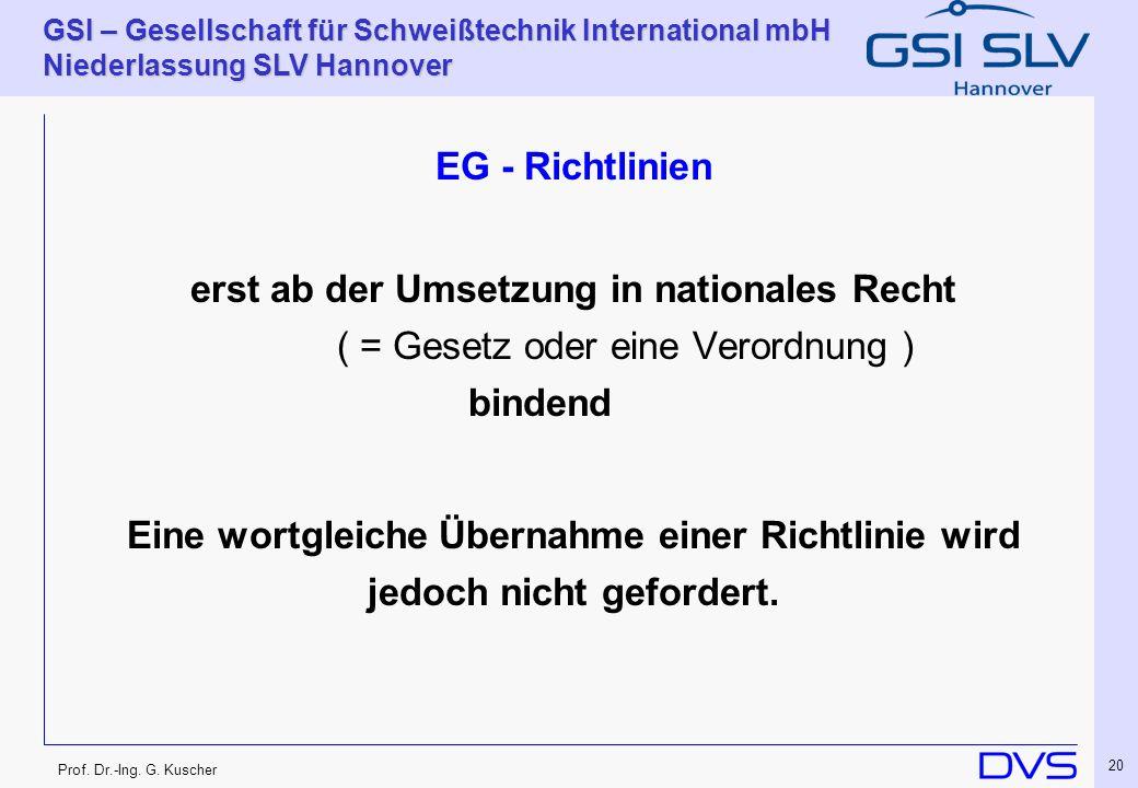 Prof. Dr.-Ing. G. Kuscher GSI – Gesellschaft für Schweißtechnik International mbH Niederlassung SLV Hannover 20 EG - Richtlinien erst ab der Umsetzung