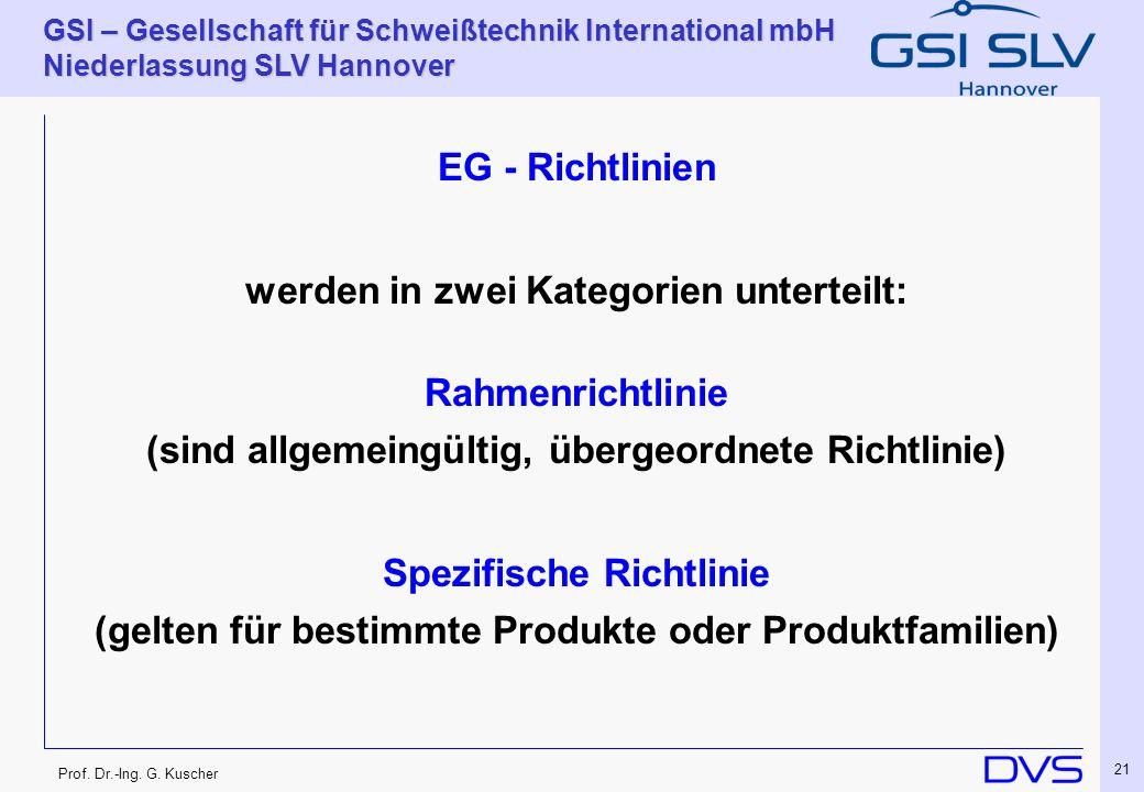 Prof. Dr.-Ing. G. Kuscher GSI – Gesellschaft für Schweißtechnik International mbH Niederlassung SLV Hannover 21 EG - Richtlinien werden in zwei Katego