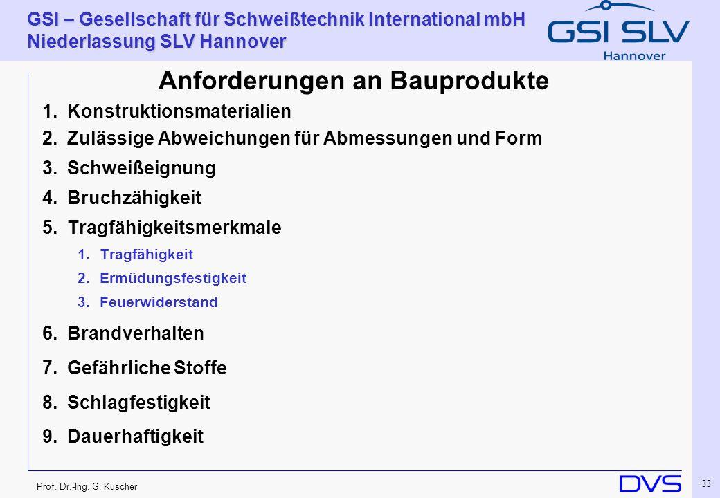 Prof. Dr.-Ing. G. Kuscher GSI – Gesellschaft für Schweißtechnik International mbH Niederlassung SLV Hannover 33 Anforderungen an Bauprodukte 1.Konstru