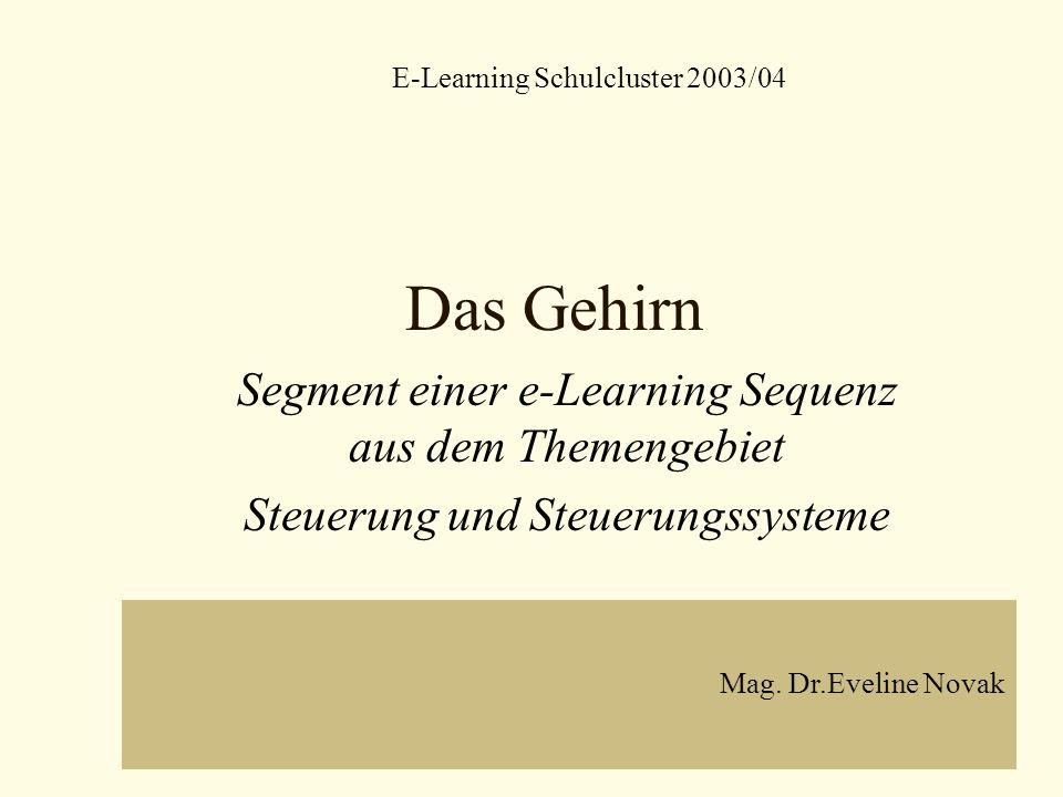 Das Gehirn Segment einer e-Learning Sequenz aus dem Themengebiet Steuerung und Steuerungssysteme E-Learning Schulcluster 2003/04 Mag. Dr.Eveline Novak