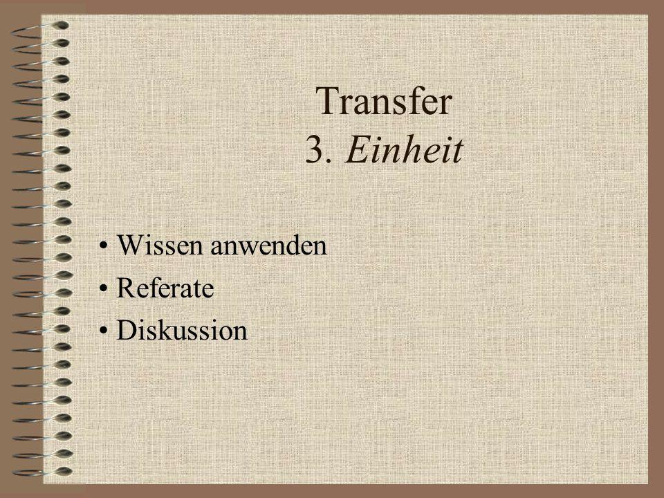 Transfer 3. Einheit Wissen anwenden Referate Diskussion