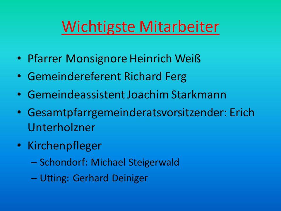 Wichtigste Mitarbeiter Pfarrer Monsignore Heinrich Weiß Gemeindereferent Richard Ferg Gemeindeassistent Joachim Starkmann Gesamtpfarrgemeinderatsvorsi