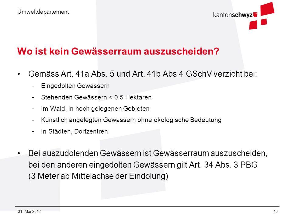 Umweltdepartement 31. Mai 201210 Wo ist kein Gewässerraum auszuscheiden? Gemäss Art. 41a Abs. 5 und Art. 41b Abs 4 GSchV verzicht bei: -Eingedolten Ge