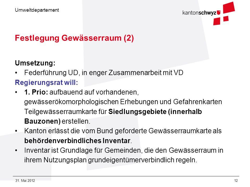 Umweltdepartement 31. Mai 201212 Festlegung Gewässerraum (2) Umsetzung: Federführung UD, in enger Zusammenarbeit mit VD Regierungsrat will: 1. Prio: a