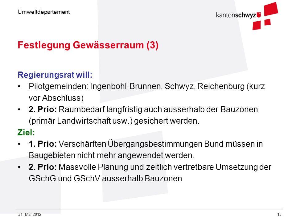 Umweltdepartement 31. Mai 201213 Festlegung Gewässerraum (3) Regierungsrat will: Pilotgemeinden: Ingenbohl-Brunnen, Schwyz, Reichenburg (kurz vor Absc