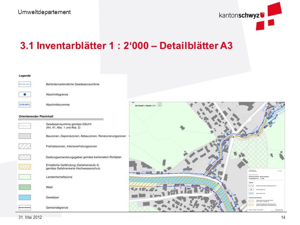 Umweltdepartement 31. Mai 201214 3.1 Inventarblätter 1 : 2000 – Detailblätter A3