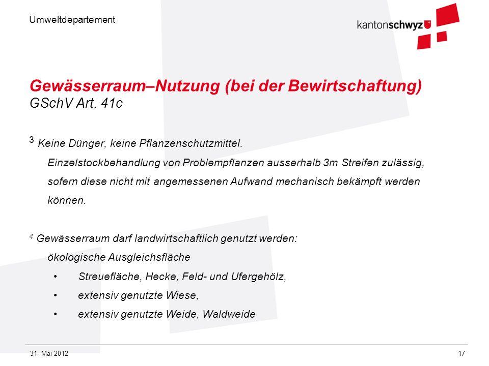 Umweltdepartement 31. Mai 201217 Gewässerraum–Nutzung (bei der Bewirtschaftung) GSchV Art. 41c 3 Keine Dünger, keine Pflanzenschutzmittel. Einzelstock