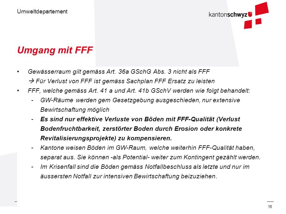 Umweltdepartement 31. Mai 201218 Umgang mit FFF Gewässerraum gilt gemäss Art. 36a GSchG Abs. 3 nicht als FFF Für Verlust von FFF ist gemäss Sachplan F