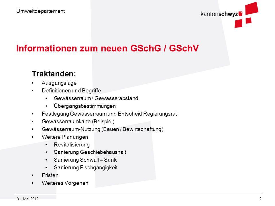 Umweltdepartement 31. Mai 20122 Informationen zum neuen GSchG / GSchV Traktanden: Ausgangslage Definitionen und Begriffe Gewässerraum / Gewässerabstan