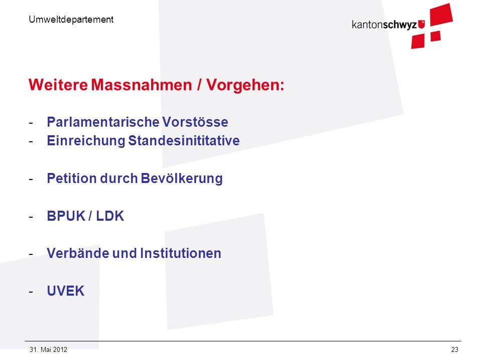 Umweltdepartement 31. Mai 201223 Weitere Massnahmen / Vorgehen: -Parlamentarische Vorstösse -Einreichung Standesinititative -Petition durch Bevölkerun
