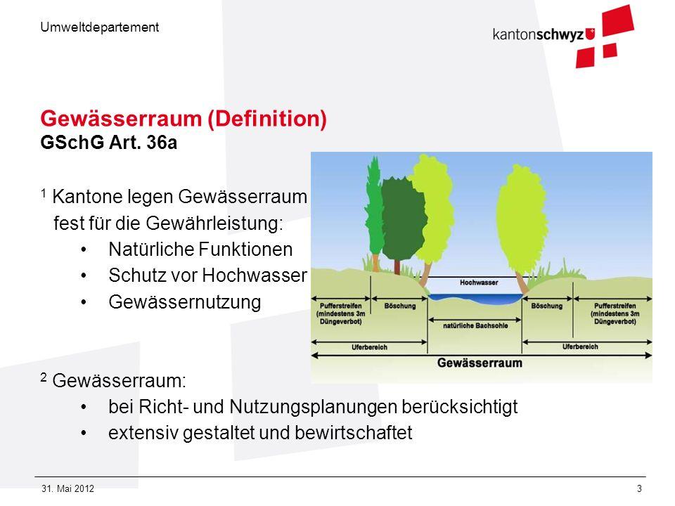 Umweltdepartement 31. Mai 20123 Gewässerraum (Definition) GSchG Art. 36a 1 Kantone legen Gewässerraum fest für die Gewährleistung: Natürliche Funktion