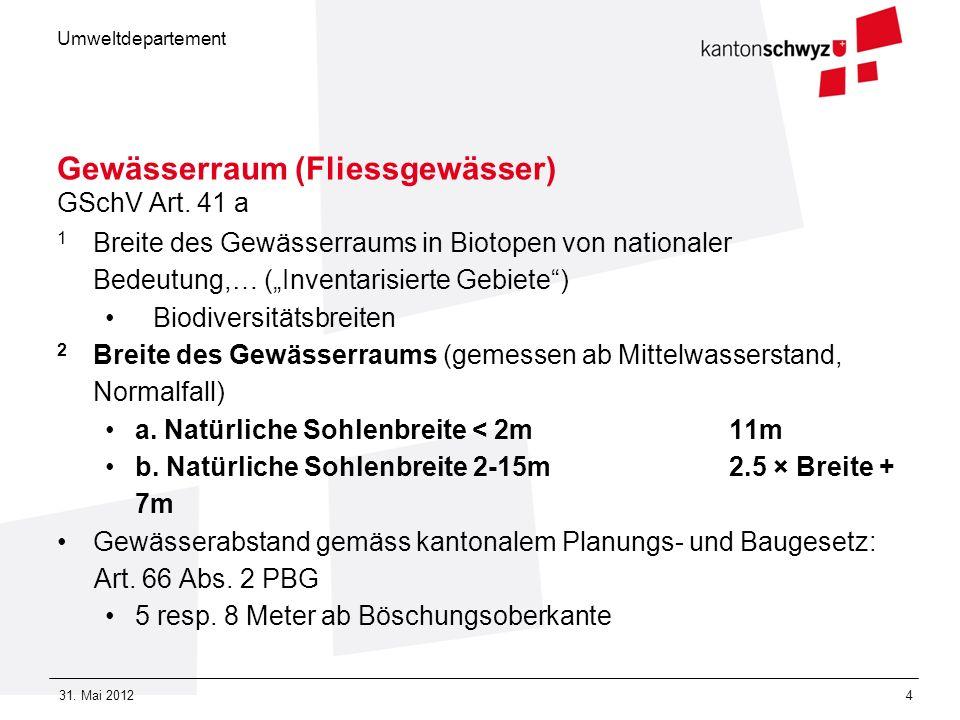 Umweltdepartement 31. Mai 20124 Gewässerraum (Fliessgewässer) GSchV Art. 41 a 1 Breite des Gewässerraums in Biotopen von nationaler Bedeutung,… (Inven