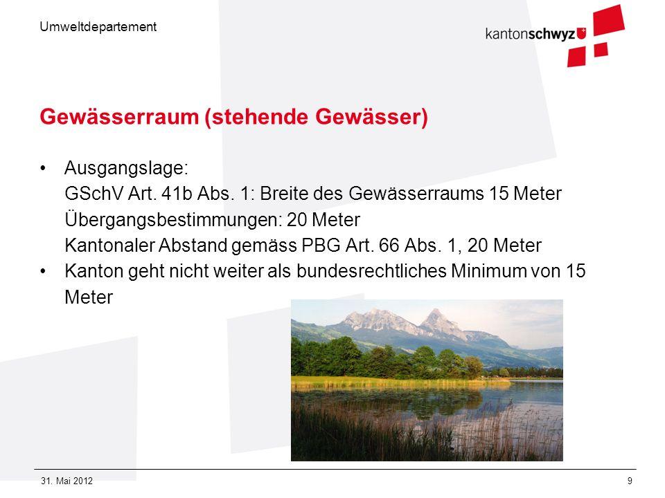 Umweltdepartement 31. Mai 20129 Gewässerraum (stehende Gewässer) Ausgangslage: GSchV Art. 41b Abs. 1: Breite des Gewässerraums 15 Meter Übergangsbesti