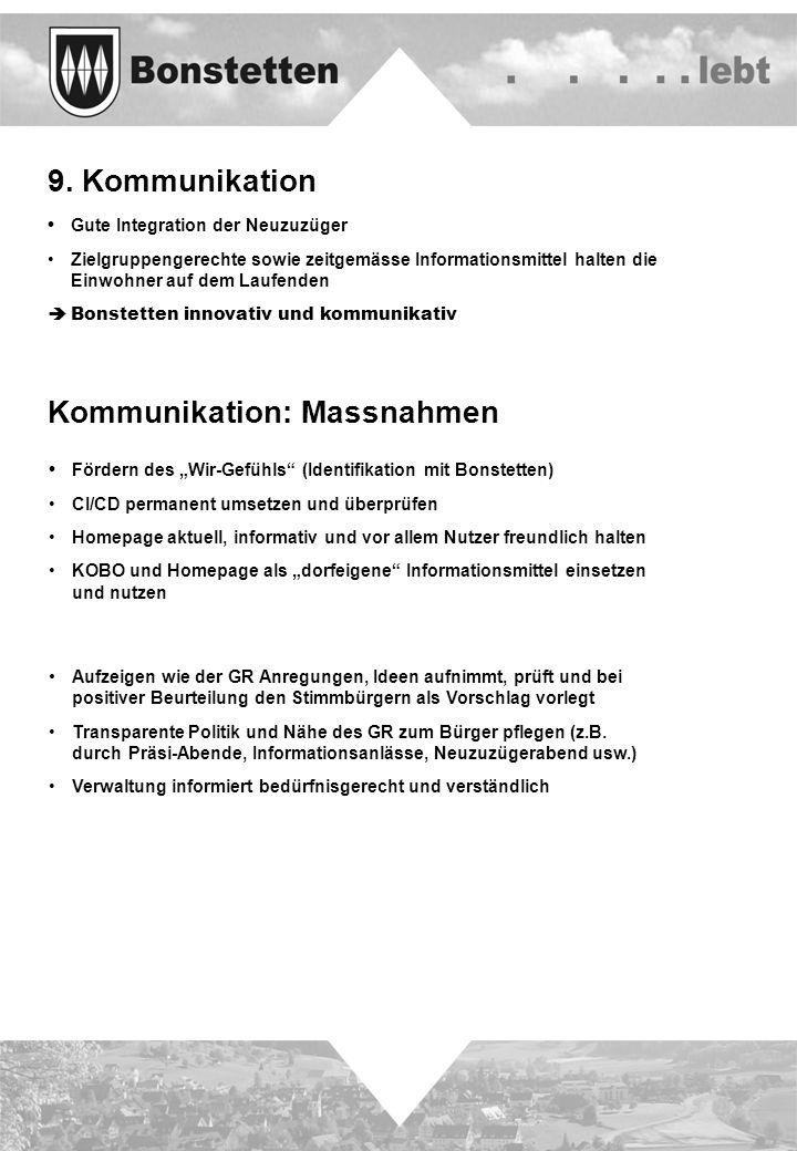 9. Kommunikation Gute Integration der Neuzuzüger Zielgruppengerechte sowie zeitgemässe Informationsmittel halten die Einwohner auf dem Laufenden Bonst