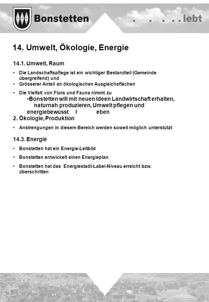 14. Umwelt, Ökologie, Energie 14.1. Umwelt, Raum Die Landschaftspflege ist ein wichtiger Bestandteil (Gemeinde übergreifend) und Grösserer Anteil an ö