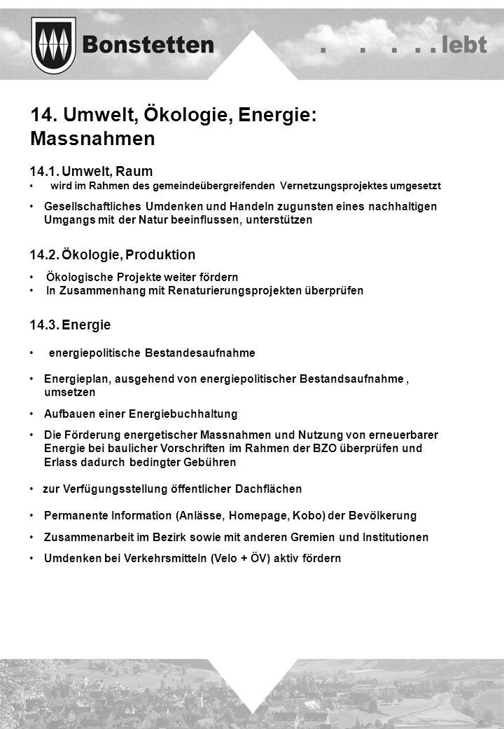 14. Umwelt, Ökologie, Energie: Massnahmen 14.1. Umwelt, Raum wird im Rahmen des gemeindeübergreifenden Vernetzungsprojektes umgesetzt Gesellschaftlich