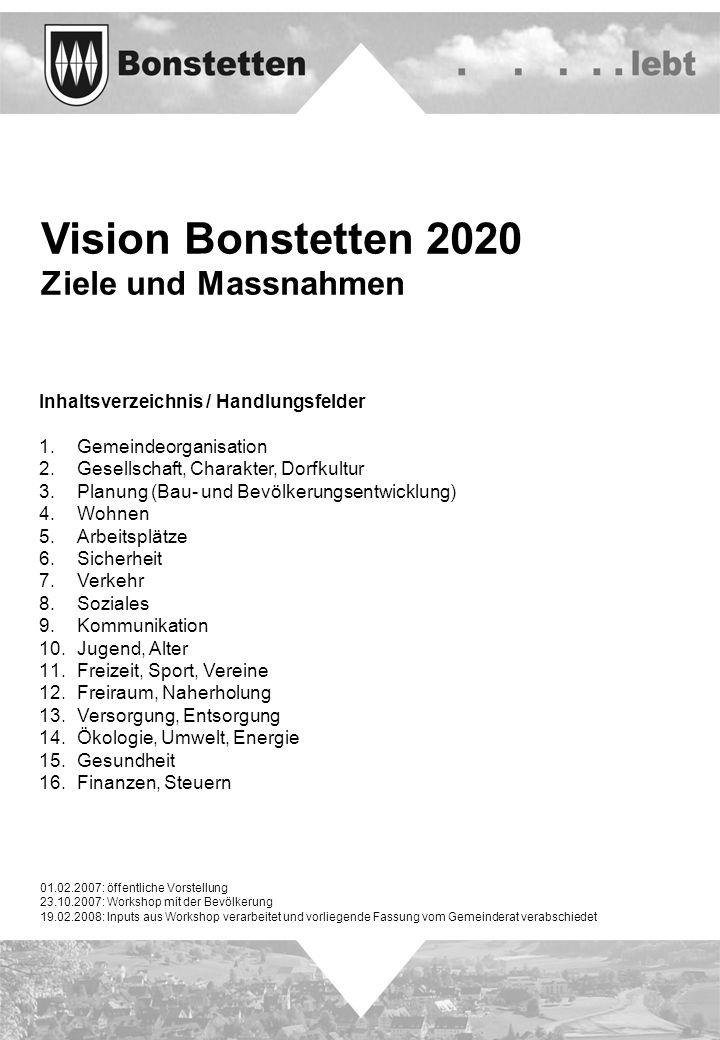 Vision Bonstetten 2020 Ziele und Massnahmen Inhaltsverzeichnis / Handlungsfelder 1. Gemeindeorganisation 2. Gesellschaft, Charakter, Dorfkultur 3. Pla