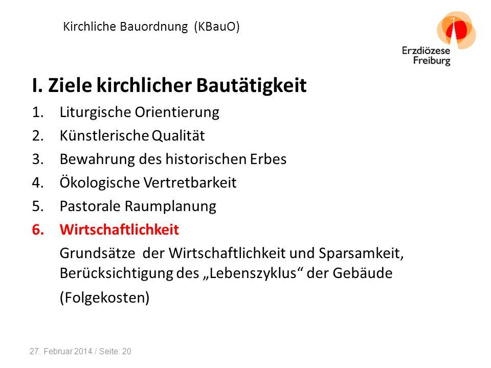 Kirchliche Bauordnung (KBauO) II.