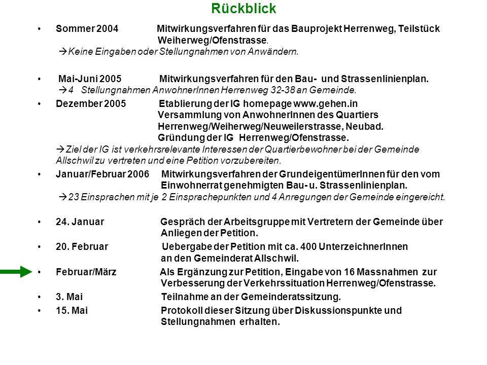 Rückblick Sommer 2004 Mitwirkungsverfahren für das Bauprojekt Herrenweg, Teilstück Weiherweg/Ofenstrasse.