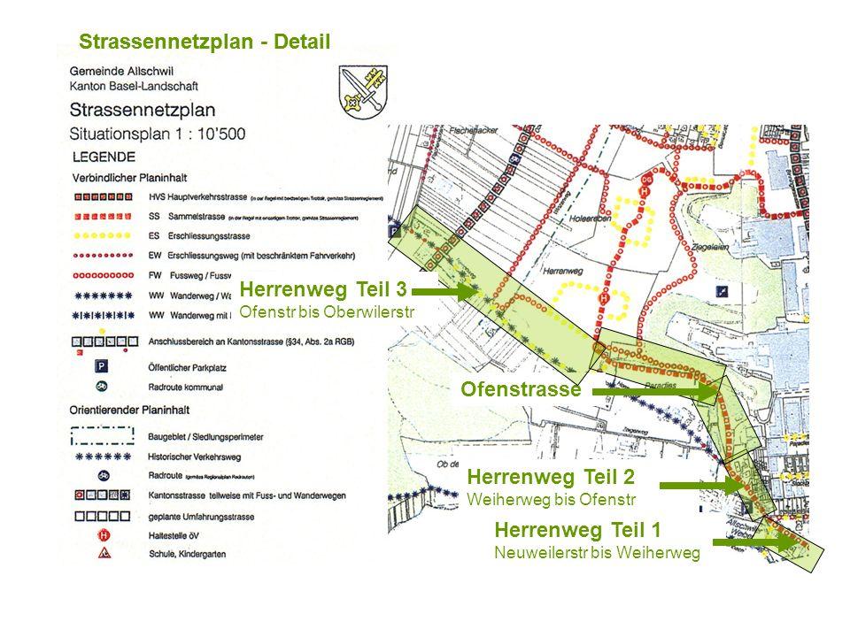 Strassennetzplan - Detail Herrenweg Teil 2 Weiherweg bis Ofenstr Herrenweg Teil 1 Neuweilerstr bis Weiherweg Ofenstrasse Herrenweg Teil 3 Ofenstr bis Oberwilerstr