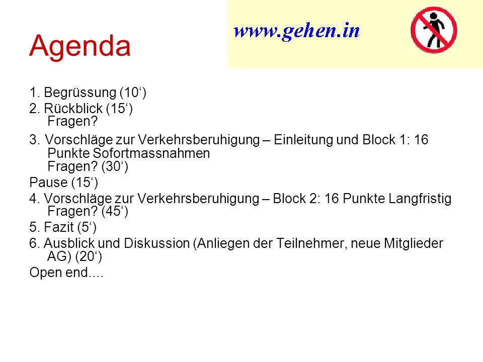 Agenda 1. Begrüssung (10) 2. Rückblick (15) Fragen.