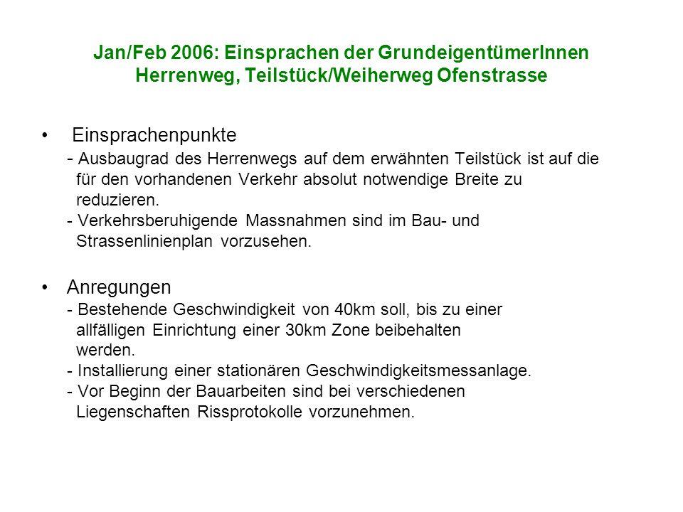 Jan/Feb 2006: Einsprachen der GrundeigentümerInnen Herrenweg, Teilstück/Weiherweg Ofenstrasse Einsprachenpunkte - Ausbaugrad des Herrenwegs auf dem erwähnten Teilstück ist auf die für den vorhandenen Verkehr absolut notwendige Breite zu reduzieren.
