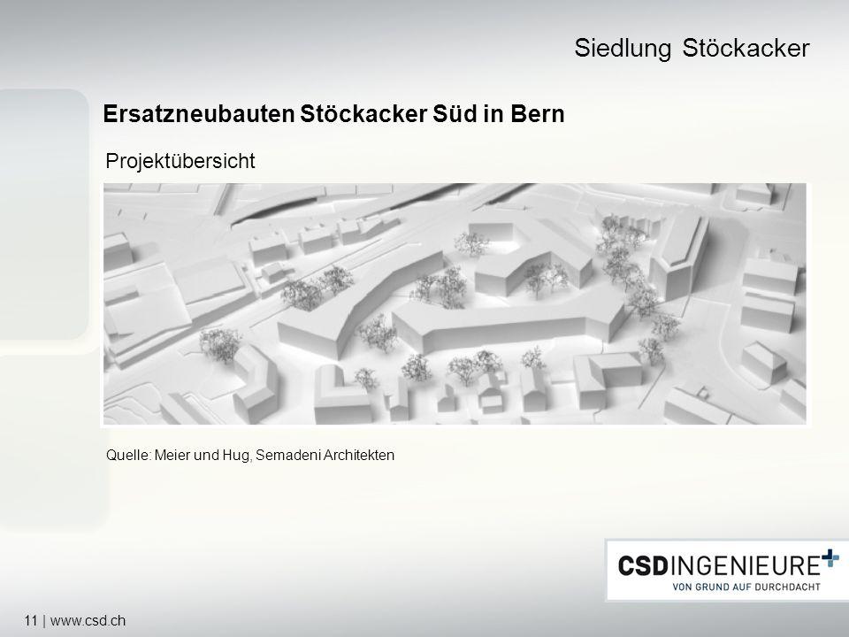 11 | www.csd.ch Ersatzneubauten Stöckacker Süd in Bern Siedlung Stöckacker Quelle: Meier und Hug, Semadeni Architekten Projektübersicht