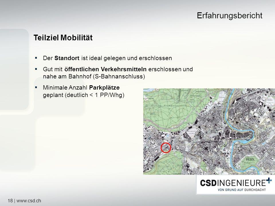 18 | www.csd.ch Teilziel Mobilität Erfahrungsbericht Der Standort ist ideal gelegen und erschlossen Gut mit öffentlichen Verkehrsmitteln erschlossen u